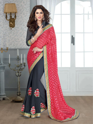 PINK & GREY DESIGNER SAREE