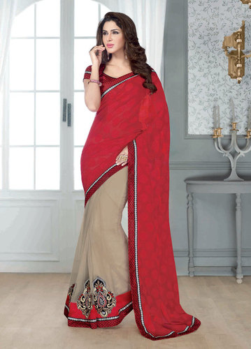 NEW ATTRACTIVE RED & BEIGE DESIGNER SAREE