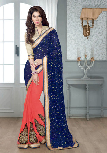 BLUE & PEACH DESIGNER SAREE