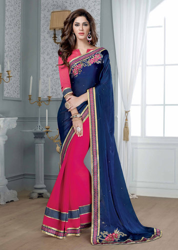 BLUE & PINK DESIGNER SAREE