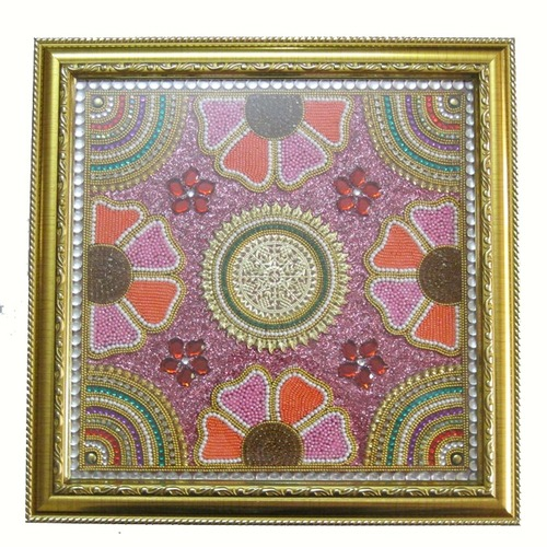 Pink and Orange Wood Baajot Pooja Chowki