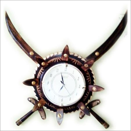 Wooden Antique Talwar Wall Clock