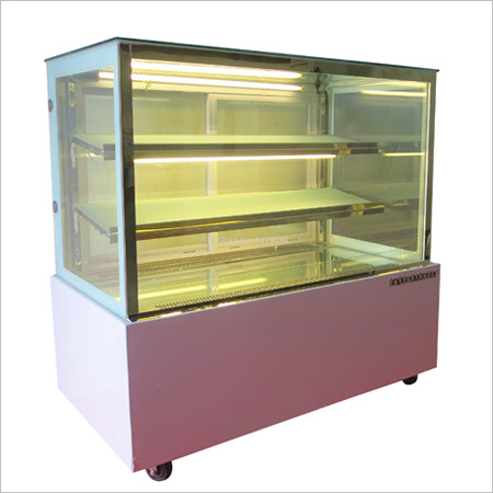 Square glass dispaly counter, Air & Static Cooled, WIth Courian