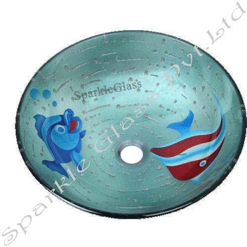 Fish Design Glass Wash Bowls