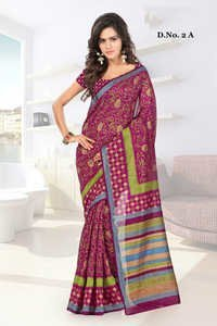 Printed Banglori Zari Work Saree with Blouse Piece
