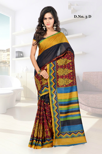 Banglori Zari Work Printed Saree with Blouse Piece.