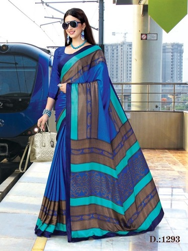 MULTI COLOUR CREPE PRINTED SAREE