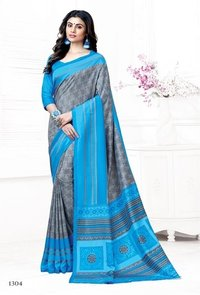PARROT AND GREY CREPE PRINTED SAREE