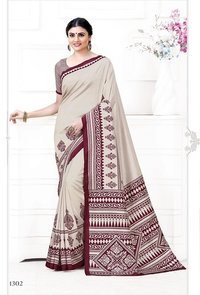 PINK AND CREAM CREPE PRINTED SAREE