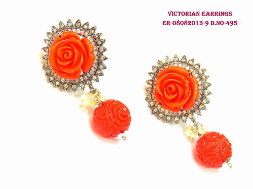 Victorian Read Rose  Earring