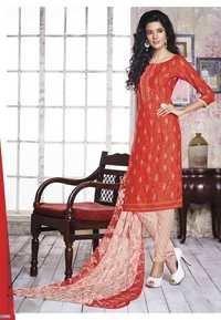 Red Color Crepe Print Dress Material