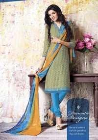 Yellow Crepe Dress Material