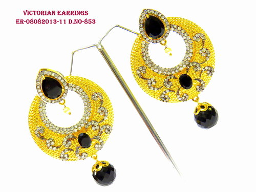Exclusive Victorian Black stone Earring