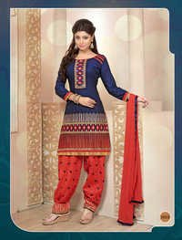 BLUE AND PEACH PATIALA STYLE SALWAR KAMEEZ