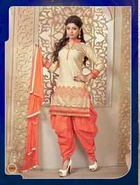 CREAM AND ORANGE PATIALA STYLE SALWAR KAMEEZ