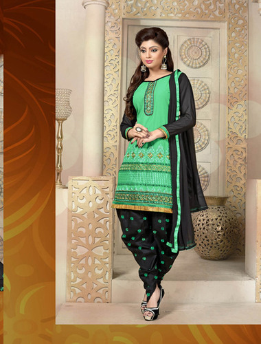GREEN AND BLACK PATIALA STYLE SALWAR KAMEEZ