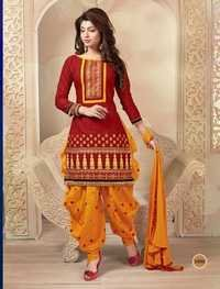 MAROON AND YELLOW PATIALA STYLE SALWAR KAMEEZ