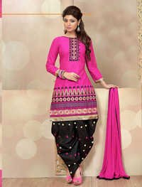 PINK AND BLACK PATIALA STYLE SALWAR KAMEEZ