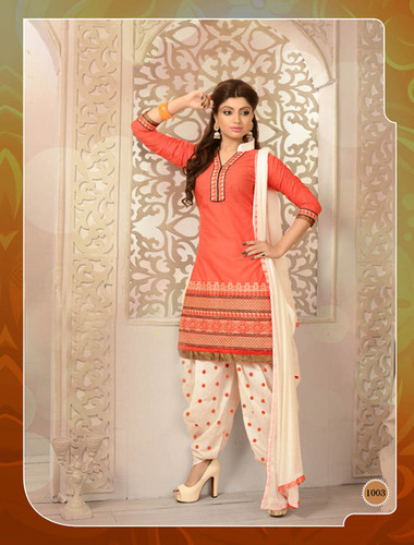 ORANGE AND CREAM PATIALA STYLE SALWAR KAMEEZ