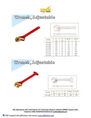 Non Sparking Adjustable Wrenches