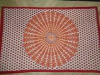 WHITE PRINTED MANDALA TAPESTRY FROM INDIA