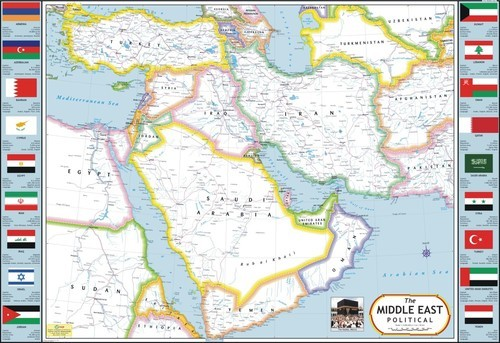 Middle East Political Map Manufacturer, Middle East Political Map ...