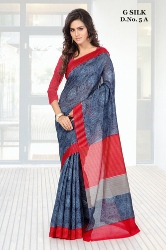 Buy new dark blue printed ghicha silk saree