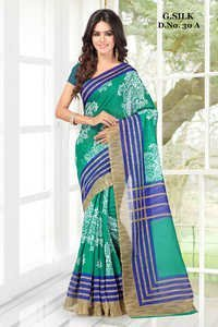 Greeen New ghicha sik  PRinted  saree