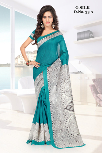 Green printed ghicha silk saree