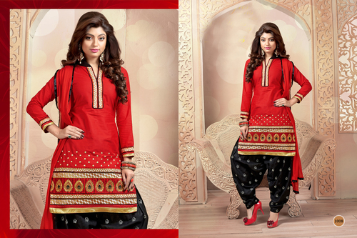 RED AND BLACK PATIALA STYLE SALWAR KAMEEZ