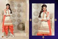 WHITE AND ORANGE PATIALA STYLE SALWAR KAMEEZ