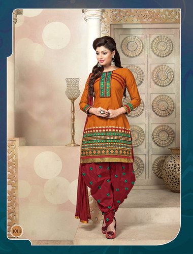 YELLOW AND MAROON PATIALA STYLE SALWAR KAMEEZ