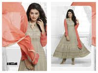 DESIGNER GREY & PEACH LONG SLEEVE ANARKALI SUIT
