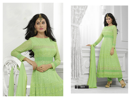 LIGHT GREEN LONG SLEEVE ANARKALI SUIT