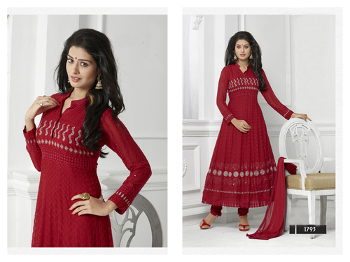 MAROON LONG SLEEVE ANARKALI SUIT