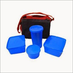 Blue Color Glass Lunch Box Set
