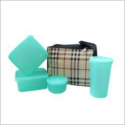 Glass Check Lunch Box Set
