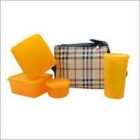 Yellow Color Glass Check Lunch Box Set