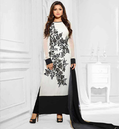 BLACK AND WHITE LONG SLEEVE STRAIGHT SUIT