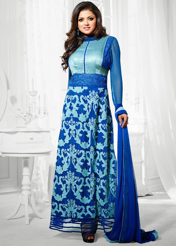 DESIGNER BLUE LONG SLEEVE STRAIGHT SUIT