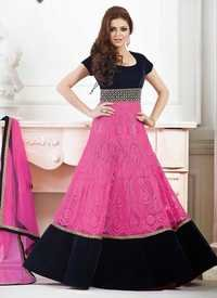 PINK AND NEAVY BLUE ANARKALI SUIT