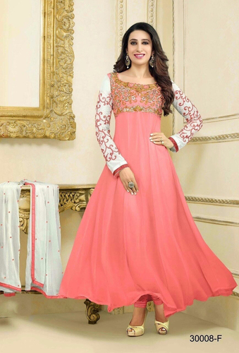 PINK AND WHITE LONG SLEEVE ANARKALI SUIT