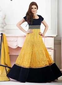 YELLOW AND NEAVY BLUE ANARKALI SUIT