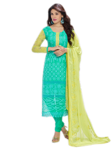 DESIGNER SKY BLUE AND YELLOW STRAIGHT SUIT