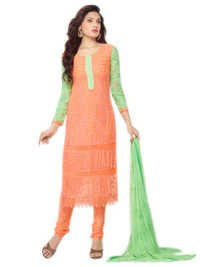 DESIGNER PEACH & LIGHT GREEN STRAIGHT SUIT