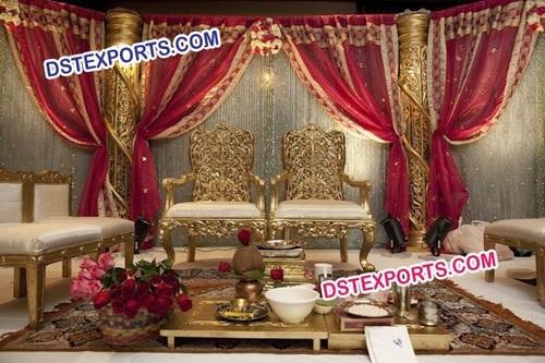 Indian Wedding Gold Mandap Chairs