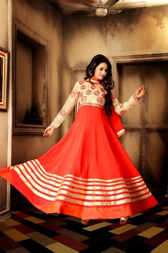 DESIGNER CREAM & ORANGE ANARKALI SUIT