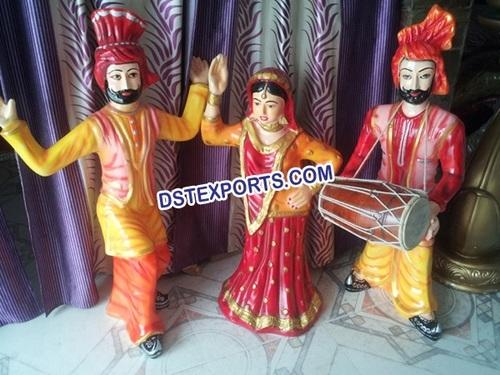 Punjabi Dancing Small Fiber Statues