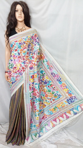 Silk Katha Stitch Saree