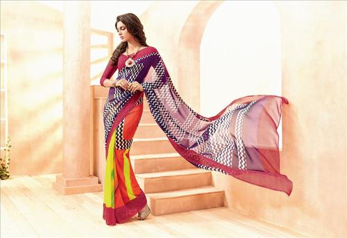 Multicolored Georgette Partywear Printed Saree.